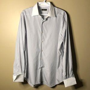 Corneliani French cuff pinstripe button up shirt